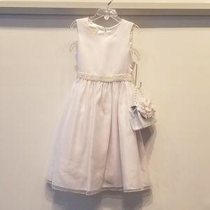 Girl's White Dress for Special Occasions & Handbag